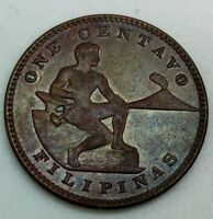 1919 S  PHILIPPINES ONE CENTAVO NICE COIN GLOSSY COLOURFUL BROWN KM163