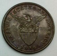 1916 S  PHILIPPINES ONE CENTAVO NICE COIN GLOSSY BROWN KM163