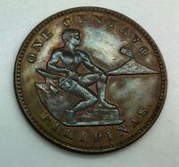 1934 M PHILIPPINES ONE CENTAVO GLOSSY BROWN SOME RED KM163