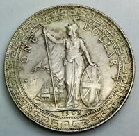 1902 B  GREAT BRITAIN TRADE DOLLAR SILVER    NICE COIN  SOME LUSTRE