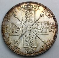 GREAT  BRITAIN 1887 ROMAN I DOUBLE FLORIN TONED LUSTROUS VIRTUALLY AS STRUCK