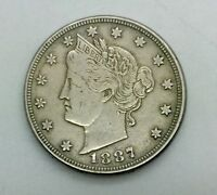 1887    LIBERTY  NICKEL BETTER DATE DETAILS  COIN