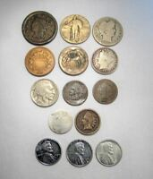 VINTAGE US COIN LOT 14PC LARGE INDIAN STEEL LIBERTY SEATED SILVER BARBER C662