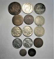 VINTAGE US COIN LOT 14PC LARGE STEEL SHIELD LIBERTY SILVER BARBER C668