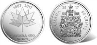 2017 2X CANADA 50 CENT PIECE   150TH ANNIVERSARY CANADA & COAT OF ARMS