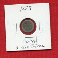 1853 3 THREE CENT SILVER 84004 $  COIN $ US MINT  KEY DATE ESTATE