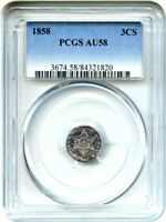 1858 3CS PCGS AU58 - PRETTY TONING,  TYPE 2 - 3-CENT SILVER