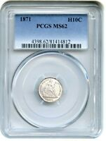 1871 H10C PCGS MS62   NICE LUSTER   SEATED HALF DIME   NICE LUSTER