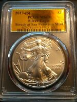 2017-S AMERICAN SILVER EAGLE PCGS MINT STATE 69 GOLD LABEL STRUCK AT SF MINT