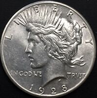 1928 - P PEACE SILVER DOLLAR  AU DETAILS KEY DATE COIN ONLY 360,649 MINTED