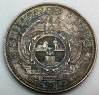 1892 SINGLE SHAFT ZAR SOUTH AFRICA 5 SHILLINGS KM8.1 COLLECTOR CROWN TONED