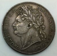 GREAT  BRITAIN 1821 GEORGE IV HALF CROWN TONED SHARP COIN
