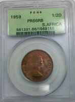 SOUTH AFRICA 1959 ELIZABETH II PCGS PR66RB 1/2 D NICE  PROOF COIN