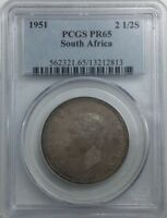 SOUTH AFRICA 1951    GEORGE VI PCGS PROOF 65 HALF CROWN  NICE  TONER PROOF COIN
