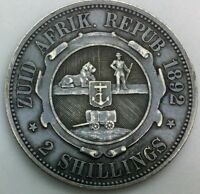 1892 ZAR SOUTH AFRICA 2 SHILLINGS KM6 COLLECTOR EXCELLENT DETAILS  TONED