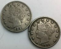 1883 NO CENTS AND WITH CENTS PAIR OF    LIBERTY  NICKELS  MID GRADE COINS