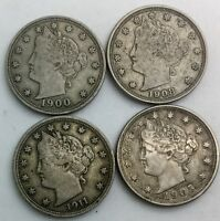 1900 1905 1908 1911 LOT OF 4     LIBERTY  NICKELS  MID GRADE COINS