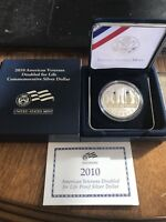 2010W PROOF AMERICAN VETERANS DISABLED FOR LIFE SILVER DOLLAR