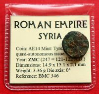 GENUINE ROMAN COIN TYRE AE14 PALM TREE 122AD