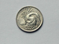 SINGAPORE 1976 5 CENTS COIN AU  WITH LUSTRE & SNAKEBIRD BIRD