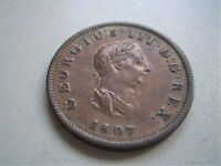 GEORGE 111  1807 COPPER HALFPENNY  GOOD FINE CONDITION [438]