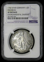 1766 GERMAN STATES FRIEDBERG 1/2 THALER NGC XF DETAILS KM 71  SILVER COIN