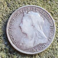 UK / GREAT BRITAIN 6D SIXPENCE TANNER 1898 VICTORIA   F SILV