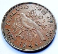 NEW ZEALAND 1944 KING GEORGE VI BRONZE ONE PENNY HIGH GRADE COIN