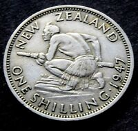 1947  NEW ZEALAND   KING GEORGE VI SHILLING COIN