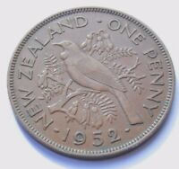 NEW ZEALAND 1952 KING GEORGE VI BRONZE ONE PENNY HIGH GRADE COIN