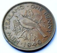 NEW ZEALAND 1940 KING GEORGE VI BRONZE ONE PENNY HIGH GRADE COIN