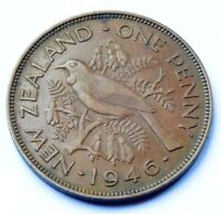 NEW ZEALAND 1946 KING GEORGE VI BRONZE ONE PENNY HIGH GRADE COIN