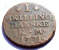 1771 DENMARK 1 SKILLING CROWNED DOUBLE