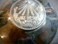 VINTAGE 1932 MEXICAN PESO STERLING SILVER ASHTRAY