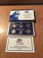 2005 CLAD QUARTER PROOF SET 5 COIN COMPLETE WITH ALL GOVT PACKAGING