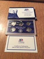 2000 CLAD QUARTER PROOF SET 5 COIN COMPLETE WITH ALL GOVT PACKAGING