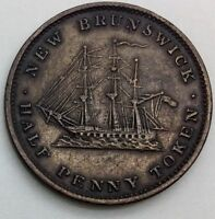1843  HALF PENNY TOKEN NEW BRUNSWICK NB1A2 PLEASING  EXAMPLE