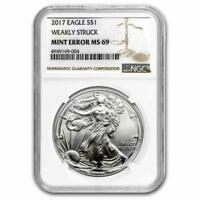 2017 SILVER AMERICAN EAGLE MS 69 NGC  ERROR WEAKLY STRUCK  PAP  LOT 20161547