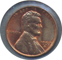 1957 D LINCOLN CENT BIE ERROR   GEM BU R&B