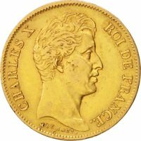 [19429] FRANCE CHARLES X 40 FRANCS 1830 PARIS VF 30 35  GOLD KM:721.1