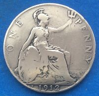 1912H KING GEORGE V HEATON MINTED PENNY COIN