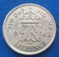 1942 KING GEORGE VI SILVER SIXPENCE COIN 75TH BIRTHDAY