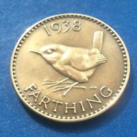 1938 KING GEORGE VI FARTHING  QUARTER OF A PENNY  COIN