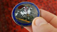 GEORGE III 1819 SILVER ENAMELLED CROWN COIN BROOCH.
