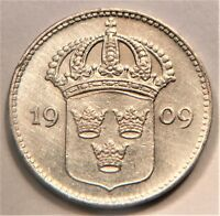1909 W SWEDEN 10 ORE. SILVER.  AT THIS GRADE. KM 780. KEY DATE. AU.
