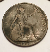 GREAT BRITAIN  UK . 1917 PENNY. KING GEORGE V BRITISH BRONZE PENNY