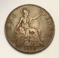 GREAT BRITAIN  UK . 1929 PENNY. KING GEORGE V BRITISH BRONZE PENNY