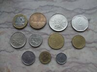 FRANCE LOT OF 11 DIFFERENT MODERN COINS WITH BIMETALLIC 1 CENTIME TO 10 FRANCS