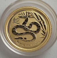 2013 AUSTRALIA YEAR OF THE SNAKE SCHLANGE 1/20 OZ GOLD 5$