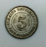 1883  STRAITS SETTLEMENTS  FIVE CENTS  KM 10 VICTORIA SILVER COIN   DATE